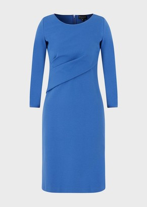 Emporio Armani Draped Dress In Stretch Milano Stitch Fabric