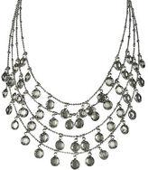 ABS by Allen Schwartz Silvertone Clear-Stone Layered Drop Necklace