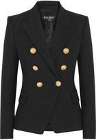 Balmain Double-breasted Basketweave Cotton Blazer - Black