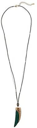 Robert Lee Morris Horn Pendant Necklace (Green) Necklace