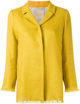 'S Max Mara - raw-hem blazer - women - Cotton/Linen/Flax/Polyamide/Spandex/Elastane - 46