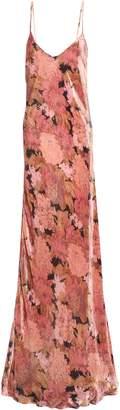 Mes Demoiselles Floral-print Velvet Maxi Slip Dress