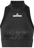 adidas by Stella McCartney Printed Paneled Mesh And Climalite Stretch Sports Bra - Black
