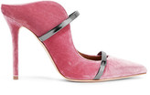 Malone Souliers Maureen Metallic Leather-trimmed Velvet Mules - Pink