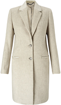 Jigsaw Single Breasted City Wool Coat, Oyster