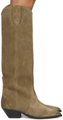Isabel Marant Taupe Suede Denvee Tall Boots