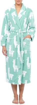 Jasmine Rose Vintage Llama-Print Wrap Robe