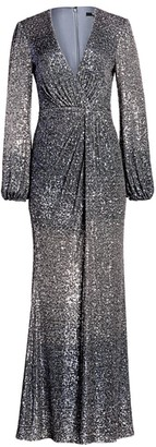 Badgley Mischka Ombre Sequin Puff-Sleeve Drape Column Gown