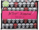 Betsey Johnson Coral and Black Skull 3 Piece Twin Sheet Set