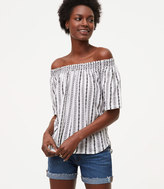 LOFT Stitch Stripe Off The Shoulder Vintage Soft Tee