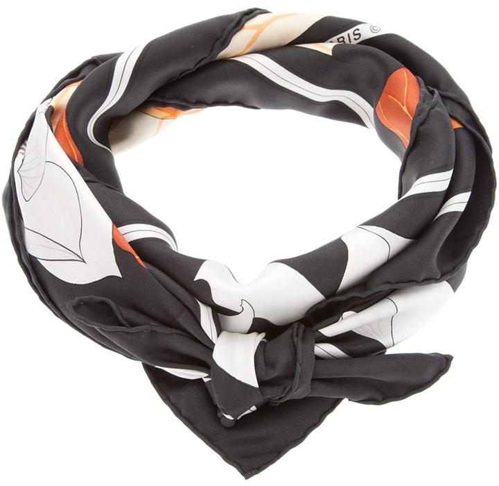 Hermes Vintage leaf print scarf