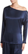 Tibi Satin Asymmetric Long-Sleeve Top