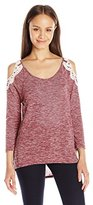 Almost Famous Women's 3/4 Sleeve Cold Shoulder Top with Crochet