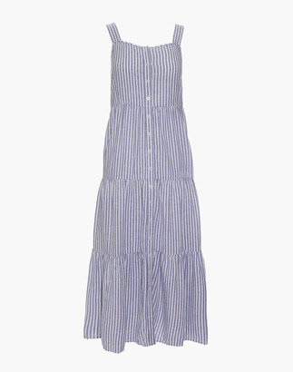 Madewell Linen-Blend Button-Front Tiered Midi Dress in Stripe