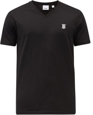 Burberry Monogram-embroidered V-neck Cotton T-shirt - Black