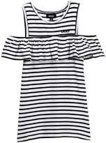 DKNY Striped Ruffle Top (Big Girls)