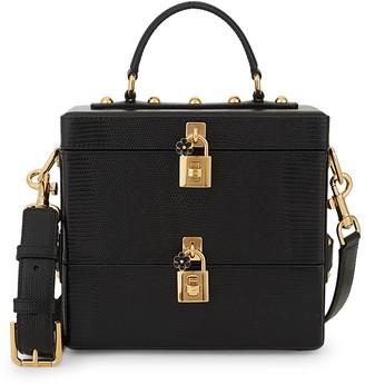 Dolce & Gabbana Iguana-Embossed Leather Lock Box Bag