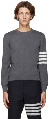 Thom Browne Grey Milano Stitch 4-Bar Sweater