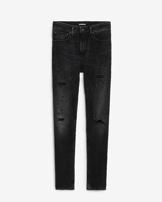Express Super Skinny Black Distresed Stretch Jeans