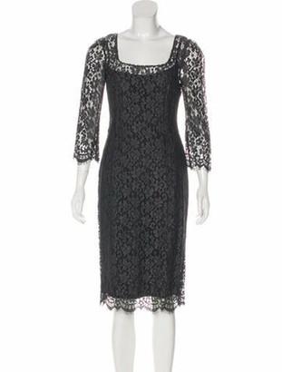 Dolce & Gabbana Lace Pattern Midi Length Dress Grey