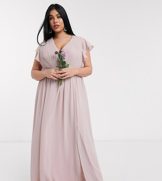 TFNC Plus bridesmaid plunge front flutter sleeve maxi dress in pink