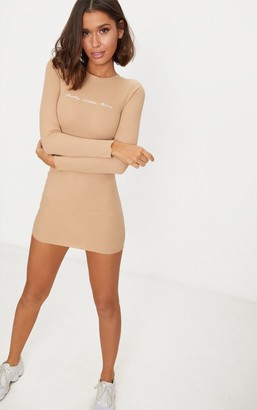 PrettyLittleThing Inxs1 Stone Embroidered Ribbed Bodycon Dress