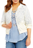 Blu Pepper Plus Lace Bomber Jacket
