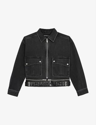The Kooples Relaxed-fit denim biker jacket