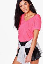 boohoo Hannah Neon V Neck T-Shirt neon-pink
