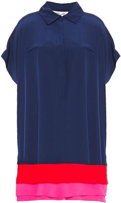 Diane von Furstenberg Color-block Silk Crepe De Chine Mini Shirt Dress