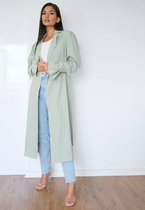 Missguided Tall Mint Textured Belted Trench Coat