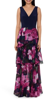 Xscape Evenings Floral Tiered Chiffon Gown