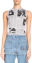 Balenciaga Sleeveless Newspaper Jacquard Top