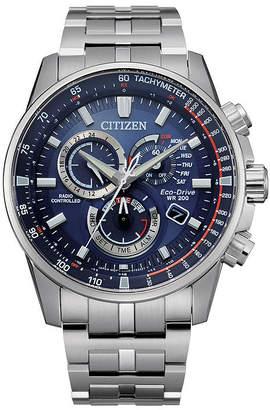 Citizen Pcat Mens Chronograph Atomic Time Silver Tone Stainless Steel Bracelet Watch-Cb5880-54l