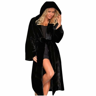 Younthone Women's Long-Sleeved Plush Faux Fur Hooded Long Coat Coat Winter Warm Jacket Women's Plus Size Jacket Elegant Party Dress Black