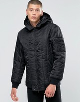 Converse Quilted Ma-1 Jacket In Black 10001142-a01