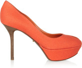Sergio Rossi Canvas-covered leather platform pumps