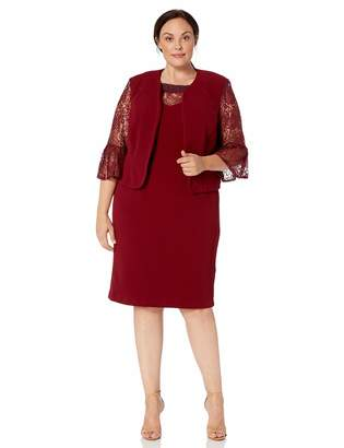 Maya Brooke Women's Plus Size LACE Sleeve Embellished Neckline Jacket Dress