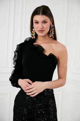 Explosion London One Shoulder Ruffle Sleeve Black Body Top