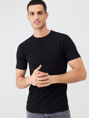 River Island Black ribbed short sleeve T-shirt