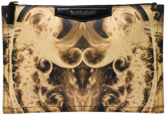 Givenchy Yellow/Black Flame Print Antigona Zip Pouch