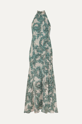 Diane von Furstenberg Leeann Floral-print Fil Coupe Silk-blend Chiffon Halterneck Maxi Dress - Green