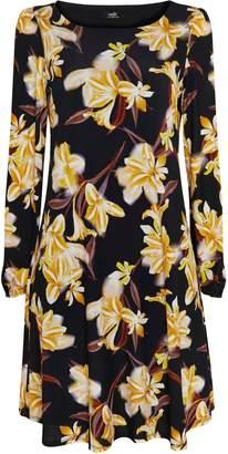 Wallis Black Floral Print Jersey Swing Dress
