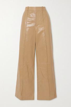 Marni Pintucked Leather Wide-leg Pants - Beige