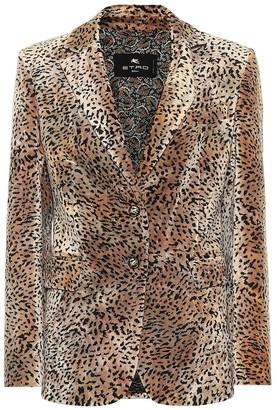 Etro Leopard-print velvet blazer
