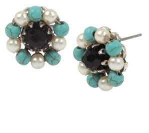 Miriam Haskell New York Mixed Beaded Deco Flower Stud Earrings