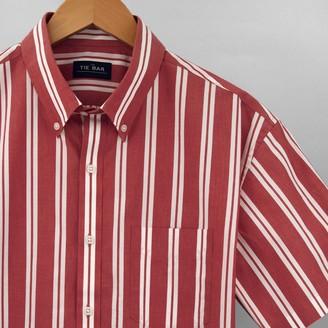 Tie Bar Awning Stripe Red Short Sleeve Shirt