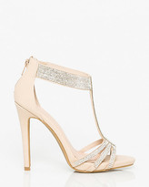 Le Château Jewels & Leather-Like T-Strap Sandal