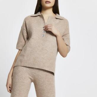 River Island Womens Beige cosy jewel button t-shirt