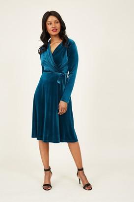 Yumi Teal Velvet Wrap Dress
